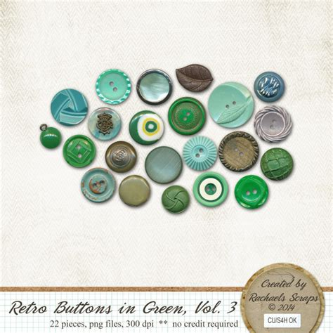 buttons and volume 3 retro buttons in green volume 3