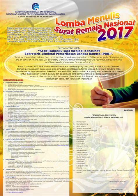 pemerintah aceh lomba menulis surat remaja nasional 2017 dirjen