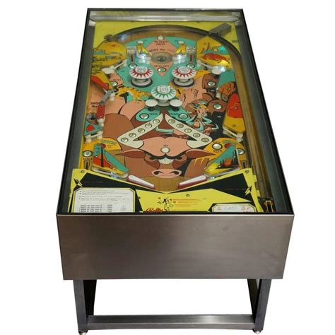 vintage quot trail drive quot pin machine coffee table at 1stdibs