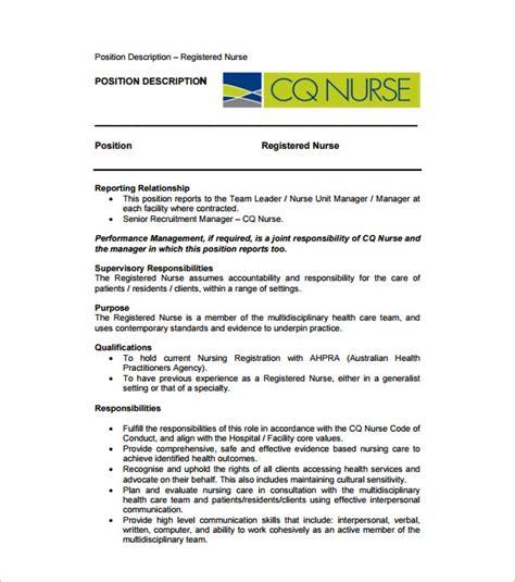 registered nurse job description template 9 free word