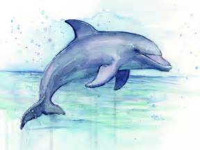 Shower Curtain Whale Watercolor Dolphin Painting Facing Right Painting By