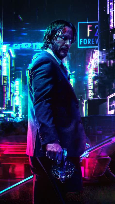 cyberpunk  keanu john wick iphone wallpaper iphone