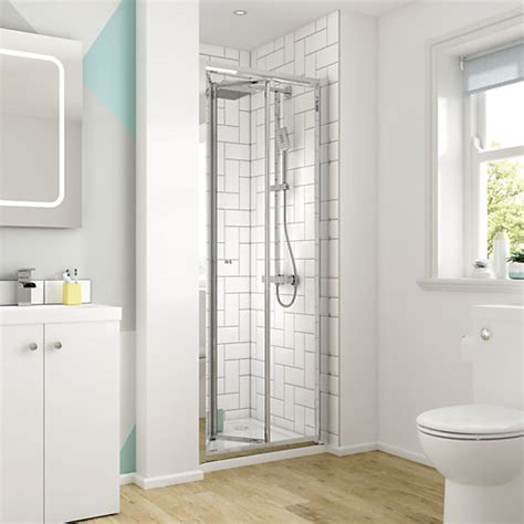 shower cubicles for small bathrooms uk wickes square bi fold semi frameless recess shower door