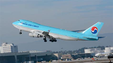 korean air cargo boeing 747 400 erf hl7438 departing lax