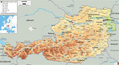 detailed map of maps of austria detailed map of austria in