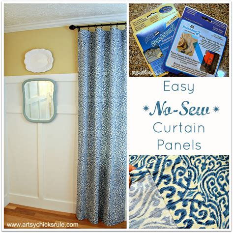 how to sew curtain panels easy no sew curtain panels artsy chicks rule 174