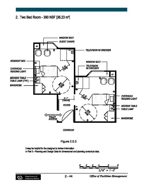 Va Nursing Home Design Guidelines Two Bed Room 390 Nsf