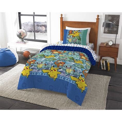 pokemon quot first starters quot 4 piece twin bed in a bag bedding