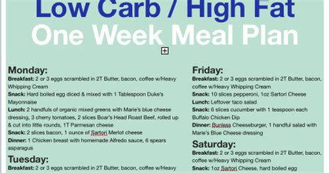 printable low carb meal planner lowcarb free printable one week low carb meal plan