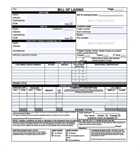 bill of lading template bill of lading template excel selimtd