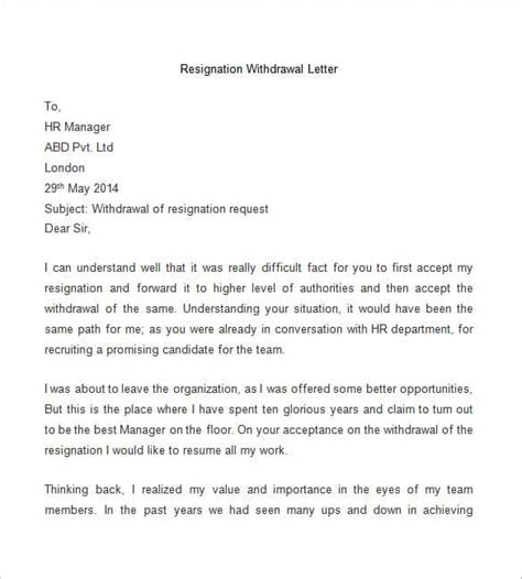 Official Withdrawal Letter From Resignation Cancellation Letter Format Letter Format 2017