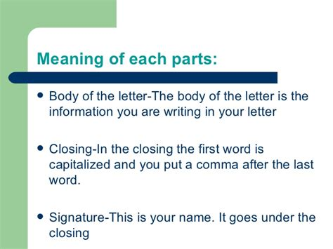 Parts Of Business Letter And Their Definition 5 Parts Of The Letter