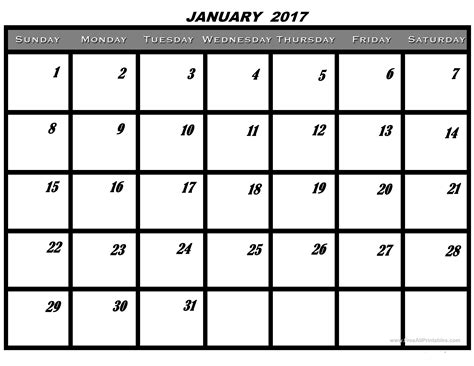 printable calendar 2017 daily january 2017 printable calendar printable january