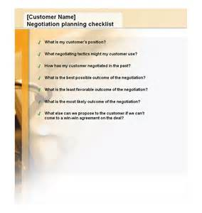 negotiation planning checklist negotiation planning