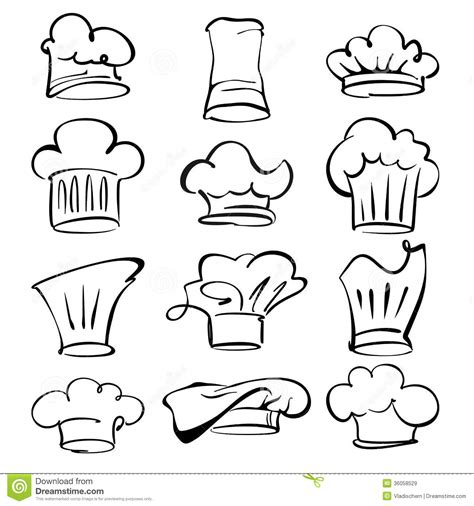 Kitchen Architecture Design chef hats collection cartoon vector illustration royalty