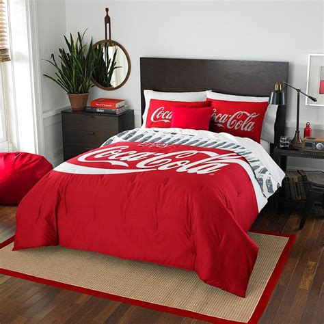coca cola coke 3 piece twin full size comforter and sham