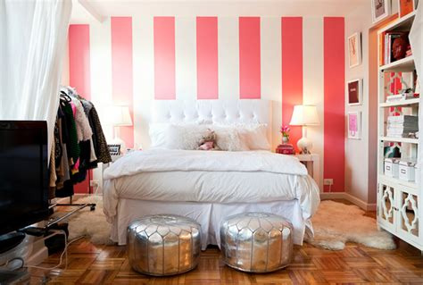 bedroom with stripes white and pink striped wall contemporary bedroom