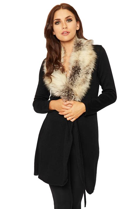Top With Faux Fur Detail On The Sleeves womens faux fur open cardigan top sleeve knitted belted stretch 8 14 ebay