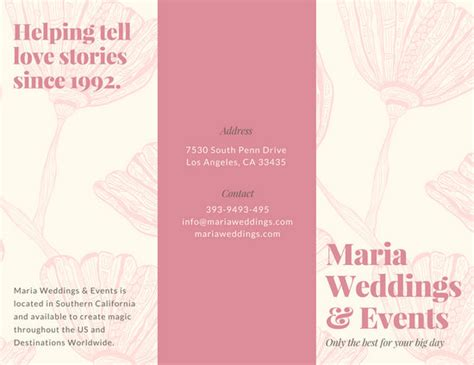 Tri Fold Wedding Brochure by Wedding Brochure Templates Canva