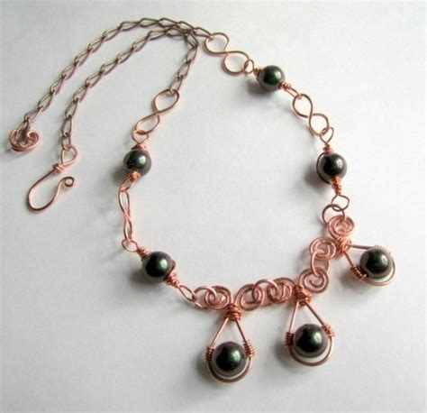Handcrafted Wire Jewelry - handcrafted wire wrapped copper necklace with emerald