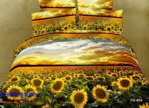 Sunflower Duvet Cover Set Full Queen Size 3d Oil Painting Golden Sunflower Fields