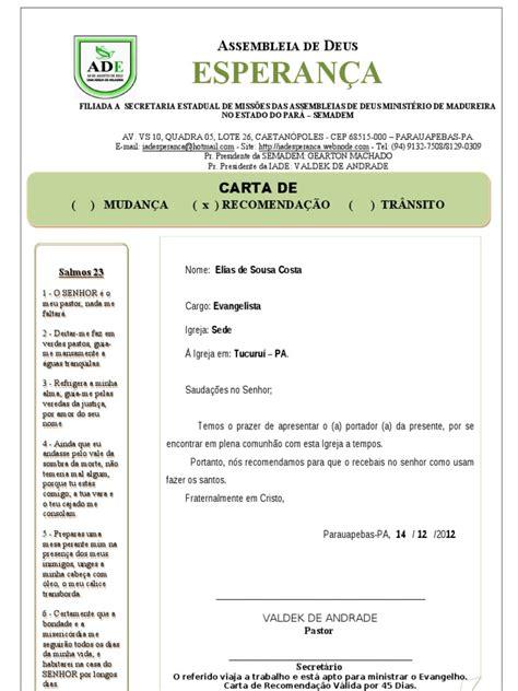 carta de transferencia entre igrejas batistas carta de recomenda 199 195 o madureira