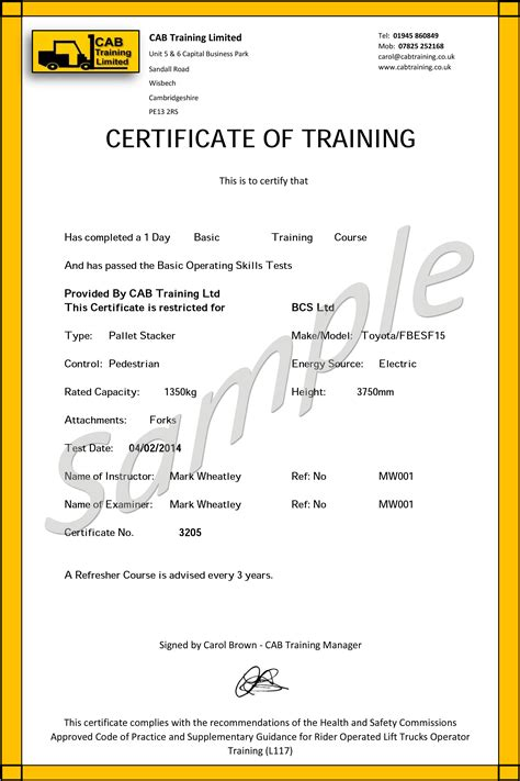 forklift certification card template 14 forklift operator certification card template blank