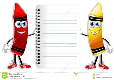 cartoon crayons  notebook royalty  stock