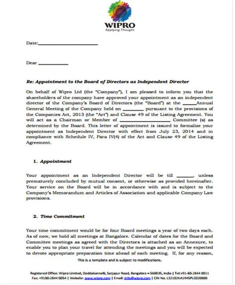 appointment letter to additional director appointment letter of director 28 images chair