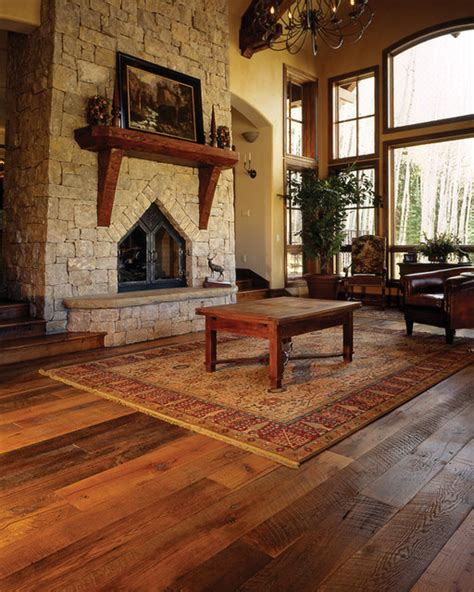 mountain home great room reclaimed oak floor traditional