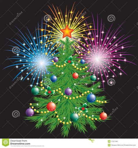 christmas tree and fireworks stock image image 17517461