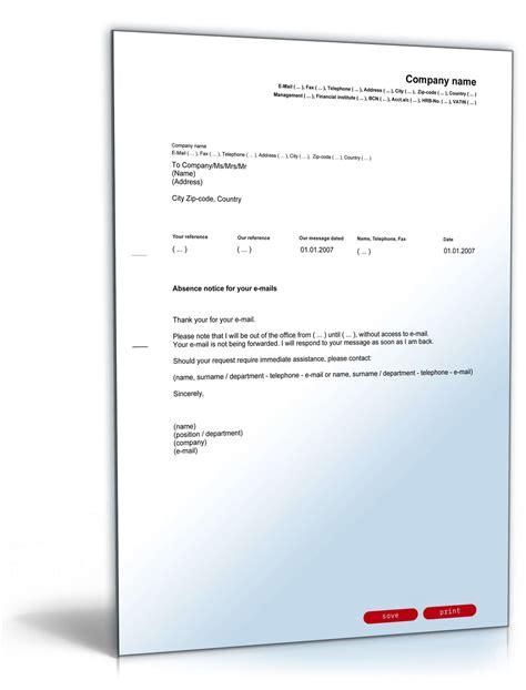 Musterbriefe Geschaeftsbriefe e mail absence notice englisch vorlage zum