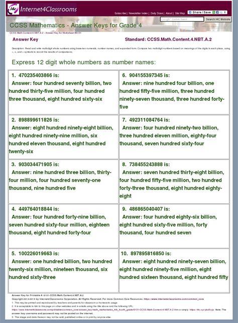 Answer Key Download Worksheet 6101 Ccss Math Content 4