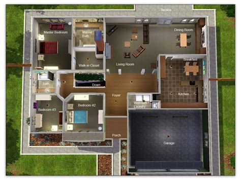 Bungalow House Plans With Basement mod the sims artisim bungalow plan 01 modest high style