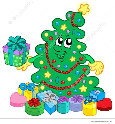happiest christmastree illustration of happy tree with gifts