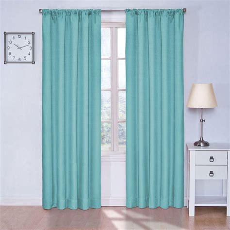 Aqua Blackout Curtains Eclipse Kendall Blackout Turquoise Curtain Panel 63 In Length 10707042x063tuq The Home Depot