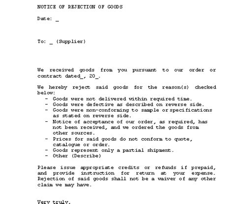 Rejecting Goods Letter Collection Notice Of Rejection Of Goods Letter