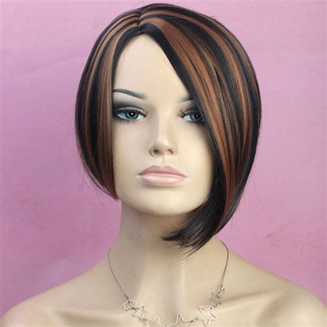 short in back long in front wigs black wig blue highlights realistic lace front wig