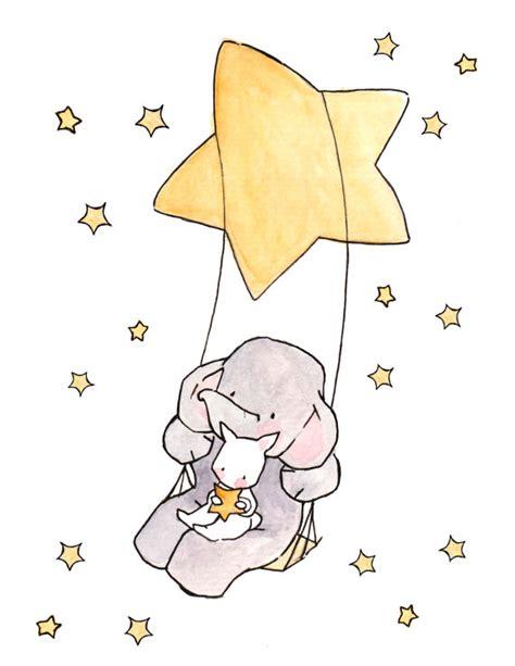 swinging stars swinging stars and moonbeams nursery art illustration
