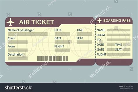 airline boarding pass ticket template detailed stock