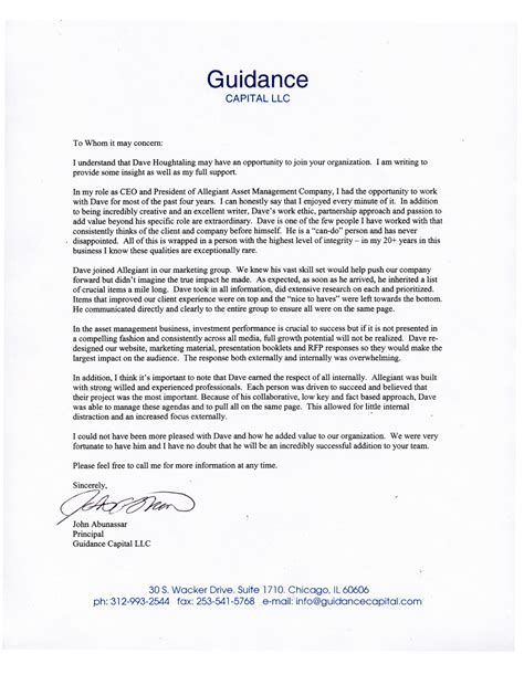 Recommendation Letter For Ceo Houghtaling Home Page