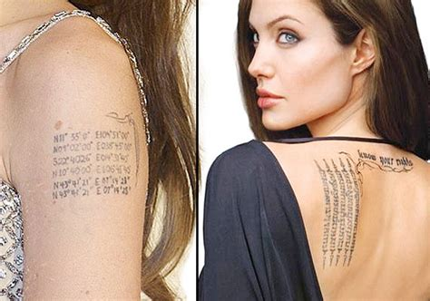 Angelina Jolie Indian Tattoo | 10 famous hollywood celebrities with indian tattoos