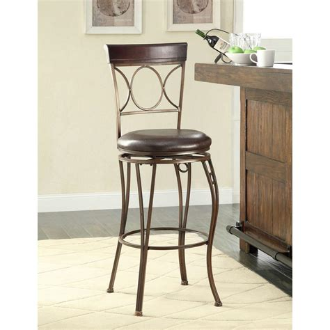 K D Furniture Bar Stools by Circles Back 30 In Brown Swivel Cushioned Bar Stool