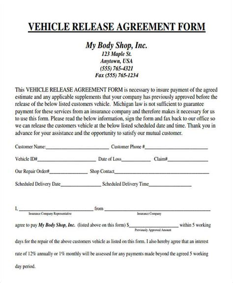 vehicle release form template 38 agreement form sles free premium templates