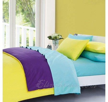 Solid Yellow Comforter by Yellow Purple And Blue Solid Duvet Cover Bedding Sets