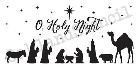 christmas holiday stencil nativity o holy night 12x24 for