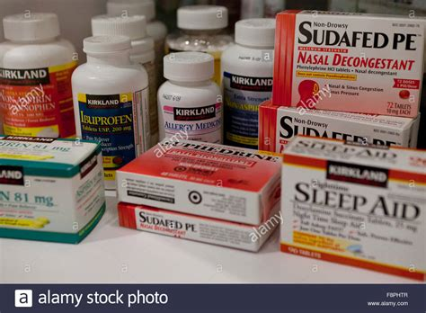 counter allergy medicine various the counter insomnia and allergy medication sleeping stock photo