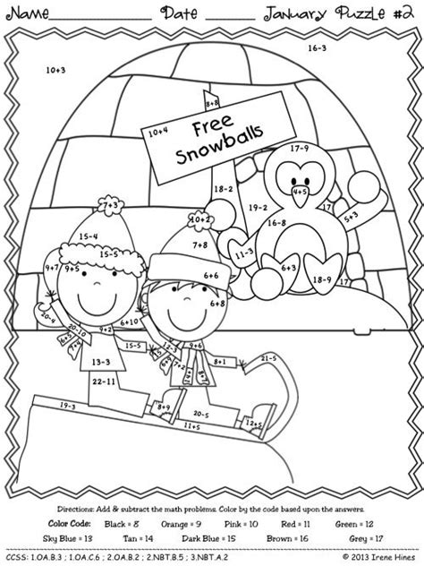 penguin addition coloring page 118 best images about color by number printables on