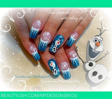 frozen nail art tutorial video disney frozen inspired olaf the snowman winter nails