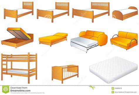 bed vector bedroom furniture set vector illustration royalty free